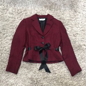Tahari Silk Lined Tweed Ribbon Belted Blazer